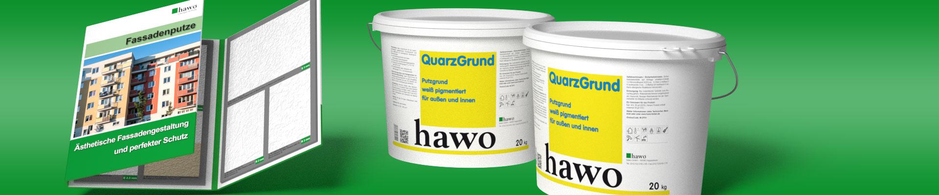 hawo Fassadenputze Musterkarte gratis beim Kauf von 2 x 20 kg hawo QuarzGrund